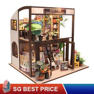 ❤️(SG BEST) HOOMEDA DIY Dollhouse with LED: Happiness Is A Cup of Coffee (M027) –时光旅行咖啡屋– 弘达 Hongda Doll House [BEST PRICE GUARANTEED – LITTLEBUILDERS 3D PUZZLES – IDEAL GIFT]