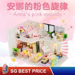 ❤️(SG BEST) HOOMEDA DIY Dollhouse with LED: Anna's Pink Melody (M035) – 安娜的粉色旋律 – 弘达 Hongda Doll House [BEST PRICE GUARANTEED – LITTLEBUILDERS 3D PUZZLES – IDEAL GIFT]