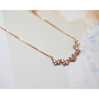 Delicate Rose Gold 925 silver Zirconia Necklace ❬KY❭