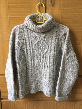 灰色高領毛衣