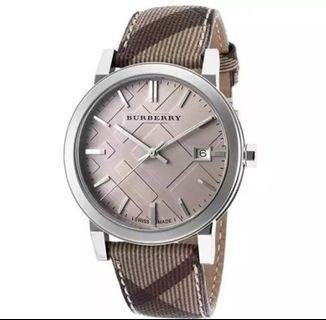 Burberry Embossed Beige 38mm Dial Leather Strap Unisex Watch BU9029