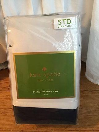 """NRFB Kate Spade """"Bow"""" Standard Sham Pair Navy/ White"""