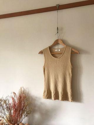 Vintage 80s奶茶色針織背心上衣