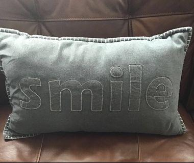 """Gray Grey w/Bold White Stitching """"SMILE"""" Accent Pillow"""