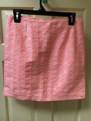 Gap women's skirt coral pink/cream geometric pattern size 8