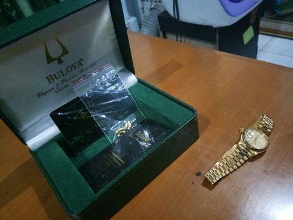 Jam Tangan Wanita Bulova Gold Automatic Model 90272 + Box + Kartu Membership