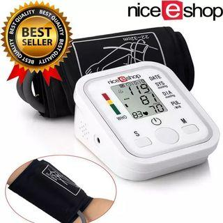 niceEshop Arm Blood Pressure Monitor LCD Heart Beat Home Sphgmomanometer, White