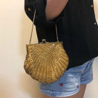 🚚 Vintage Gold Beaded Sea Clam Shell Shaped Hand Bag Clutch Coin Purse