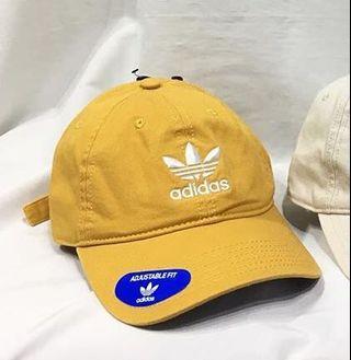 Adidas 愛迪達 三葉草 刺繡 老帽 芥末黃 美國限定色 20970312 黃色 可調式 鴨舌帽