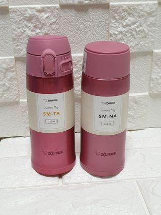Interchangeable Caps; special bundle: 2019 Cherry Pink 1 touch and Screw on Zojirushi Mugs. 2 x 360ml
