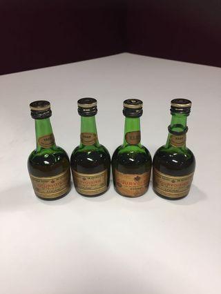 4 x Vintage Unopened Miniature Courvoisier Cognac Liquor For Sale