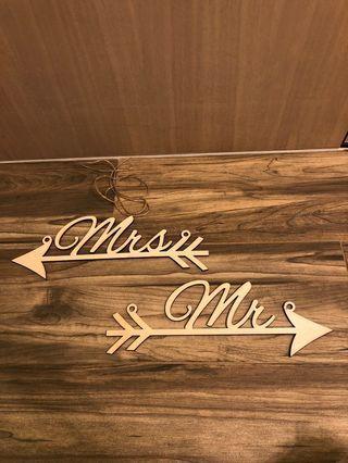 結婚物資 木製名牌 Mrs Mr