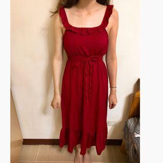 🚚 紅色花苞滾邊雪紡洋裝