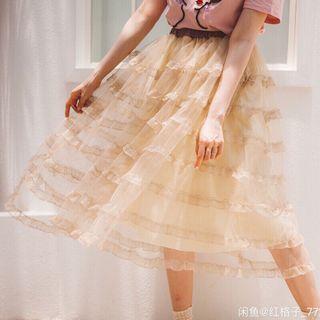🚚 日系杏色蕾絲木耳邊蛋糕裙