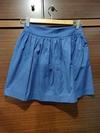 Zara 藍色短裙 上班 約會皆適用