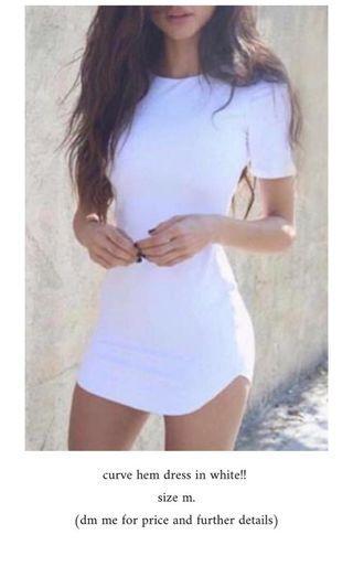 🚚 curved hem dress in white