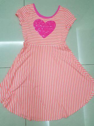 Cotton On 12yrs Pink SeQuin Heart Stripe Dress