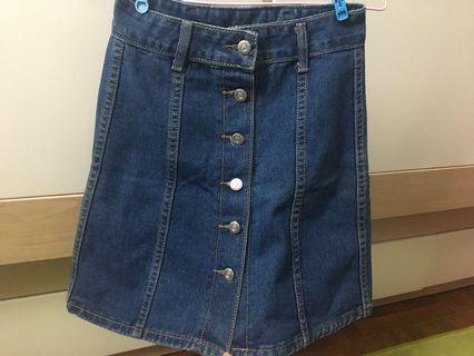 牛仔短裙A字半身裙淺藍色牛仔排扣短裙