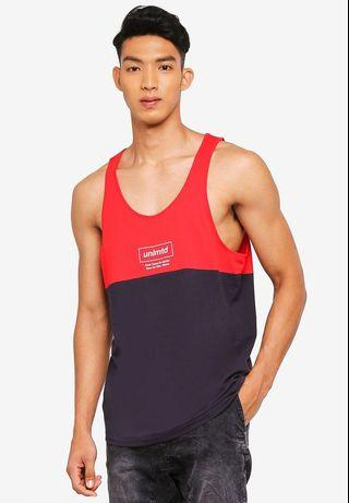 T-Bar Cotton On Men's Tank Top Vest Unlmtd Paris (Red/Navy)