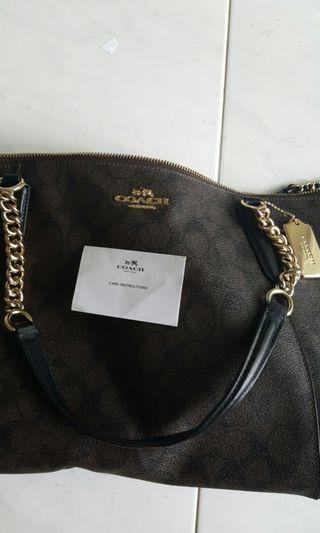 Coach Handbag-ava tote signature in brown/black