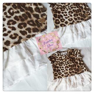 (現貨包郵)外貿出口豹紋Ruffle雪紡裙擺短袖襯衫