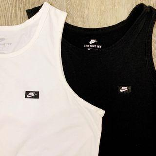 Nike Tee Men's Modern Basic Tank Top Vest Premium Finish (Black/White) Large