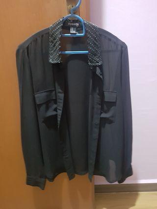 Forever 21 long sleeve black sheer top