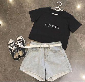 🚚 匿名愛 黑色刺繡短袖tshirt  #