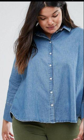 Plus Size ASOS CURVE Denim Shirt Size UK 20