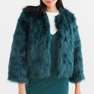 Forrest Green Faux Fur Cropped Coat size M