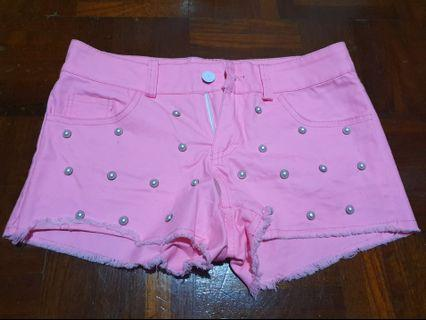 [FREE DELIVERY]: Brand new studded pink shorts