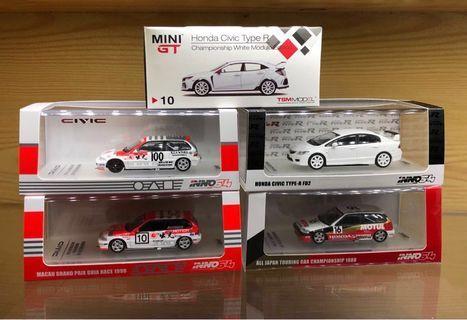 Inno64 1/64 Honda Civic Type R FD2,EF3,EF9 Mini GT FK8 出光 無限 Mugen  (Tomica/Tomytec/Tarmac/Kyosho Size)