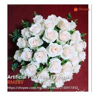 Artificial rose pink 3 dozen