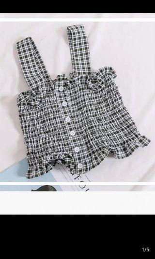Vintage Checkered/ Plaid Crop Top with Ruffles in Black and White