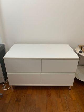 White cabinet with 4 drawers (100x52x61 - centimetre)
