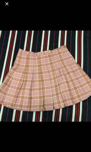 粉色格紋短裙