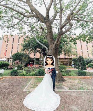 結婚物資 新娘婚紗 白色 拖尾