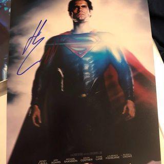 Henry Cavill 親筆簽名 Superman Man of Steel Hand Signed 10X8 autograph Justice League Batman v Superman Wonder Woman DC Comics Superhero with proof