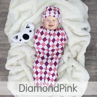 🚚 Quick Zip Baby Swaddle DiamondPink