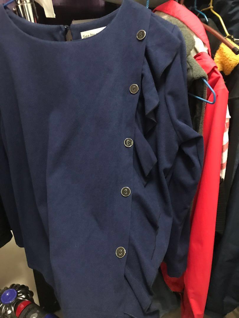 90% 新 韓國寶藍色上衣