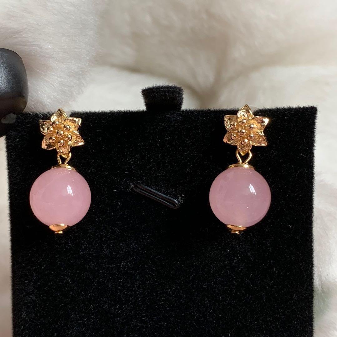 粉紅色花朵玉髓耳環