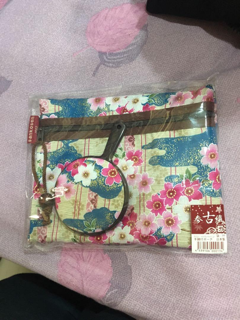 日本帶回化妝包+小鏡子