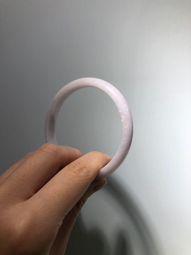 純天然翡翠手鐲 大圈口粉紫
