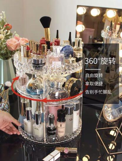 Acrylic Makeup Organiser Round adjustable 360 degree rotation,easy to access