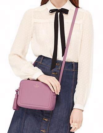 AUTH Kate Spade Pastel Pink Orchard Street Arla Crossbody Leather Bag Clutch in Rumraisin - Like New