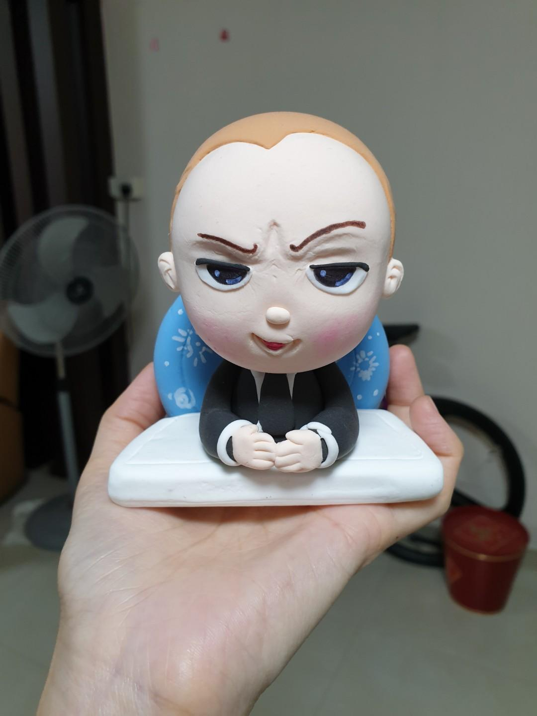 Baby boss cake topper - air dry clay