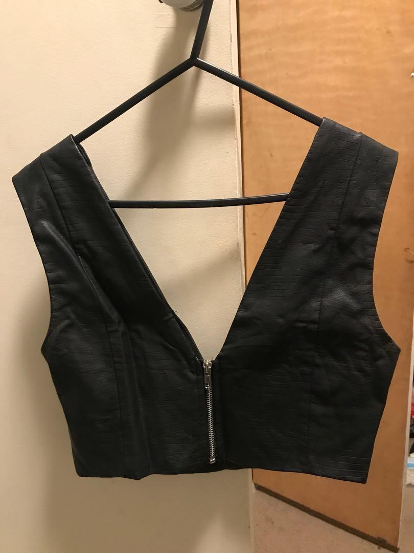 Black Faux Leather Crop