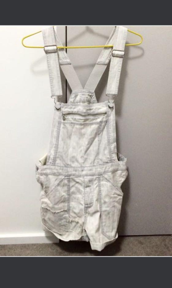 BNWOT Insight Distressed Denim Overalls Light off white colour