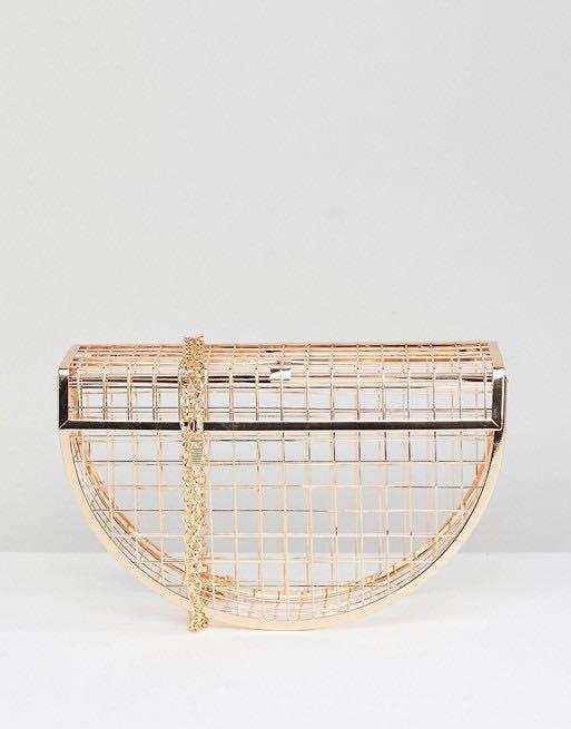 BRAND NEW ASOS Design Metal Half Moon Cage Clutch Bag RRP £30