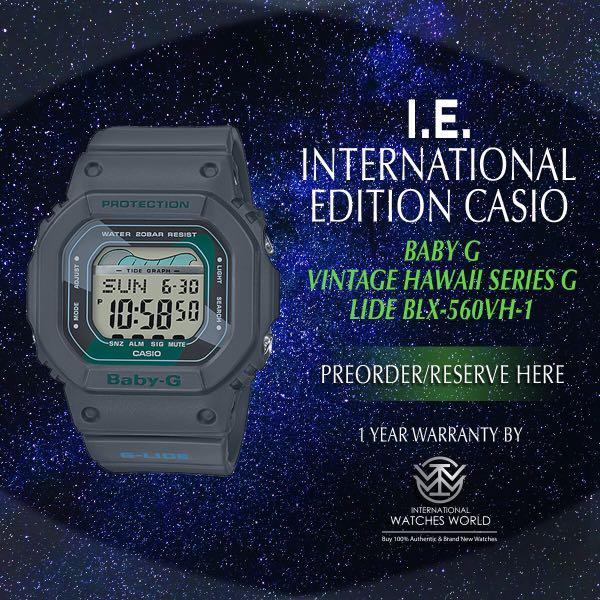 CASIO INTERNATIONAL EDITION BABY G  G LIDE VINTAGE HAWAII BLK-560VX-1 BLACK